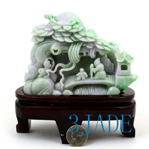Jadeite Jade Village Scenery Sculpture