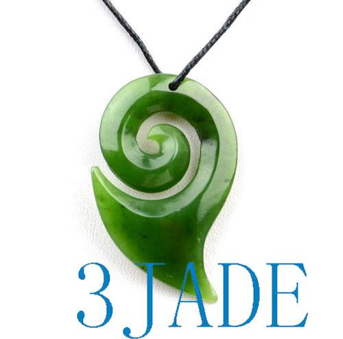 Green Jade Koru Drop Pendant Necklace