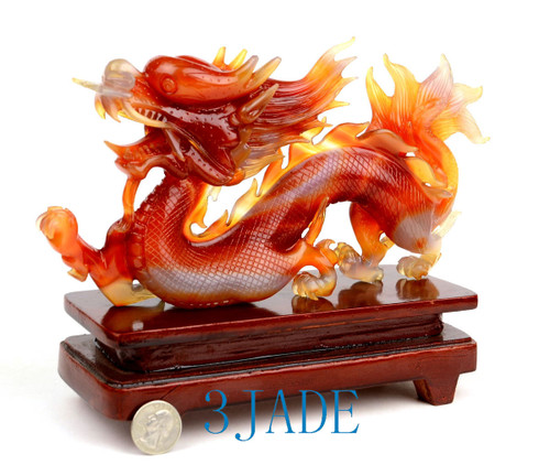 Carnelian / Red Agate Chinese Dragon Statue