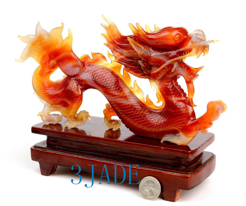 Carnelian / Red Agate Chinese Dragon Sculpture