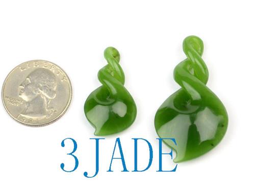 Green Jade Double Twist Pendant Necklace