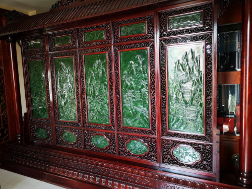 Jade Chinese Screen The Five Great Mountains