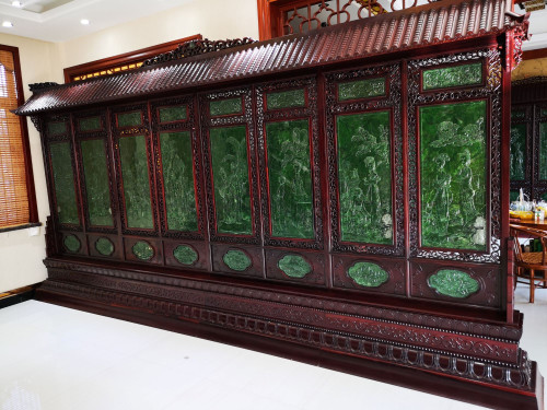 Large Spinach Green Jade Wood Chinese Screen