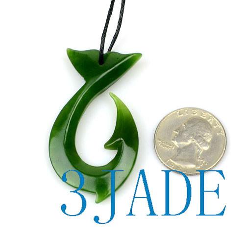 Jade Whale Tail Fish Hook Pendant