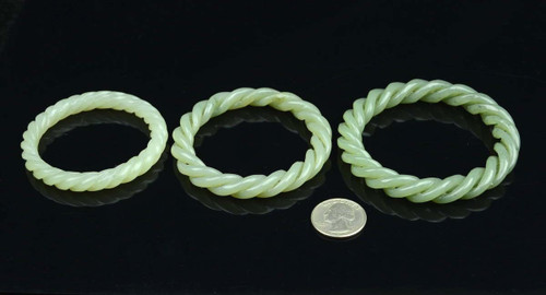 small size, middle size carved twisted rope shape jade bangle
