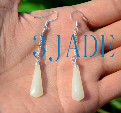 White Nephrite Jade Dangle Drop Earrings