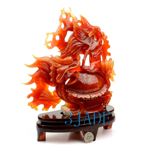 Red Agate Longevity Crane Dragon Turtle Statue