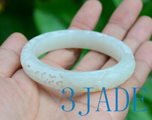 55mm carved white jade bangle