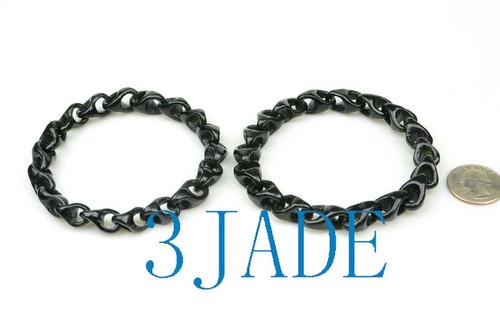 Black Nephrite Jade Link Chain