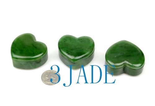 Green Jade Heart Shaped Powder Box