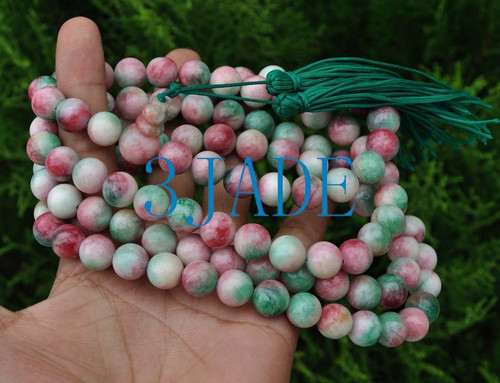 "50"" Colorful Jade / Serpentine Mantra Meditation Yoga Buddhist 108 Prayer Beads Mala -E004023"
