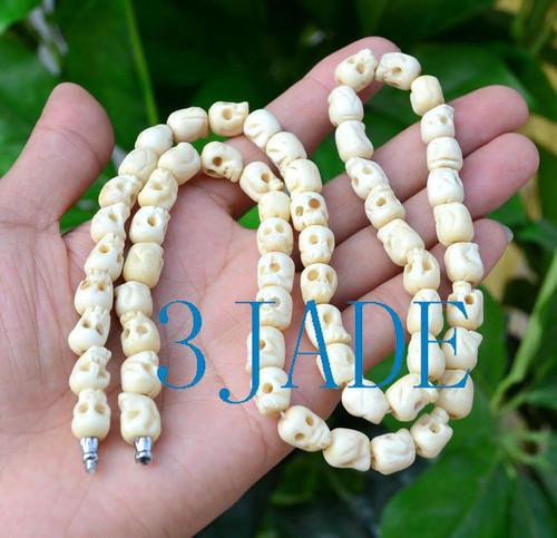 ox bone skull beads necklace