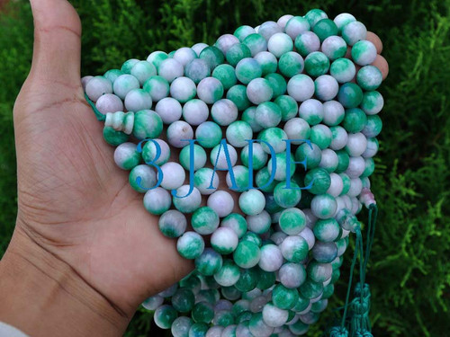 "50"" Colorful Jade / Serpentine Mantra Meditation Yoga Prayer Beads Buddhist Mala -E004008"