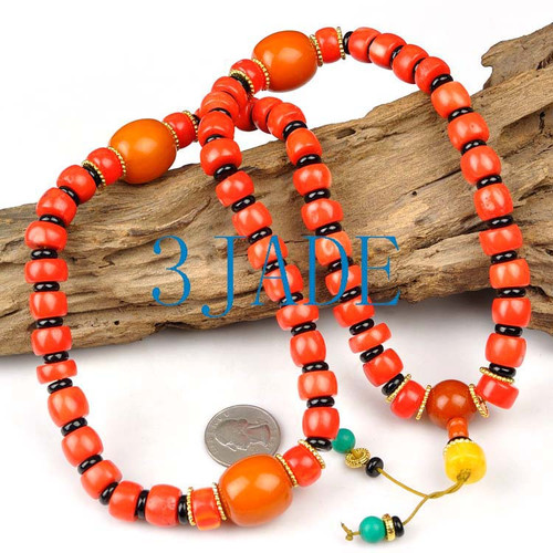 Tibetan Red Coral Mantra Meditation Buddhist Prayer Beads Mala E022012