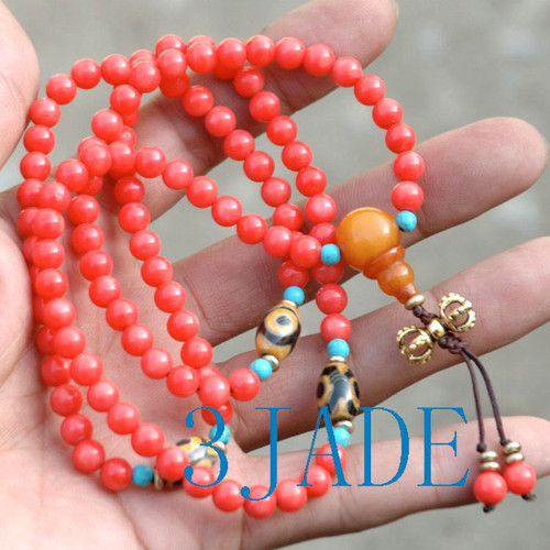 Tibetan Red Coral Mantra Meditation Buddhist Prayer Beads Mala E022010