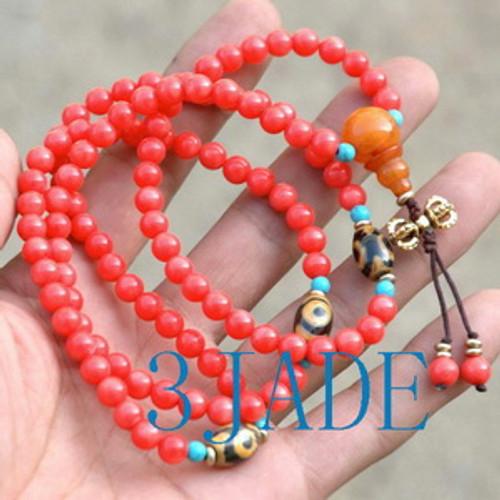 Tibetan Red Coral Mantra Meditation Buddhist Prayer Beads Mala E022010