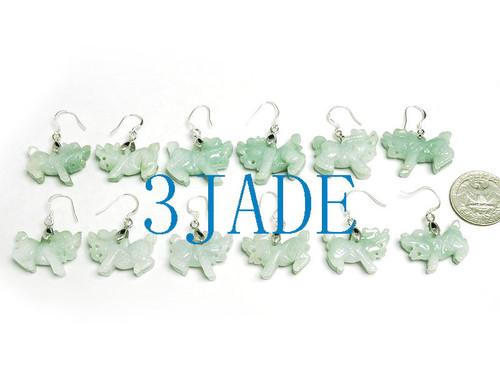 Jadeite Jade Kylin Dangle Earrings