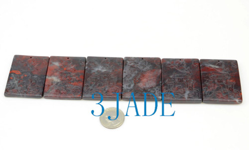 6pcs Chicken-blood Stone / Cinnabar Carp Leaping Over Dragon Gate  Pendants