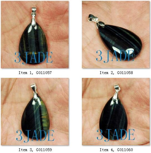 Chatoyant Blue Tiger's Eye Solitaire Pendant