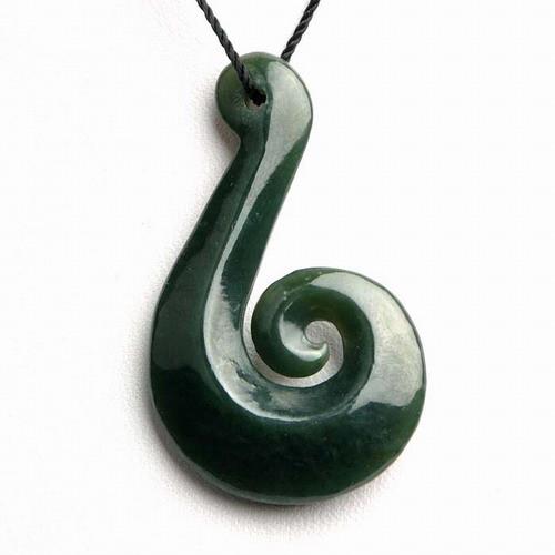 Jade Fish Hook Koru Pendant, jade Koru, Maori Koru pendant, Fish Hook Koru