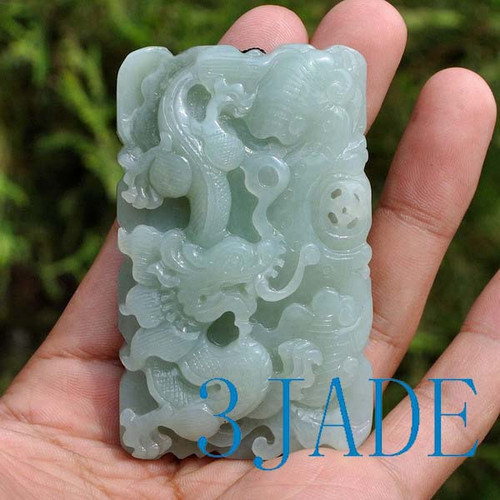 74mm Hand Carved Natural Hetian Nephrite Jade Dragon Pendant, w/ certificate -G020522