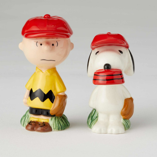 Peanuts Charlie Brown and Snoopy Baseball Salt and Pepper Shakers