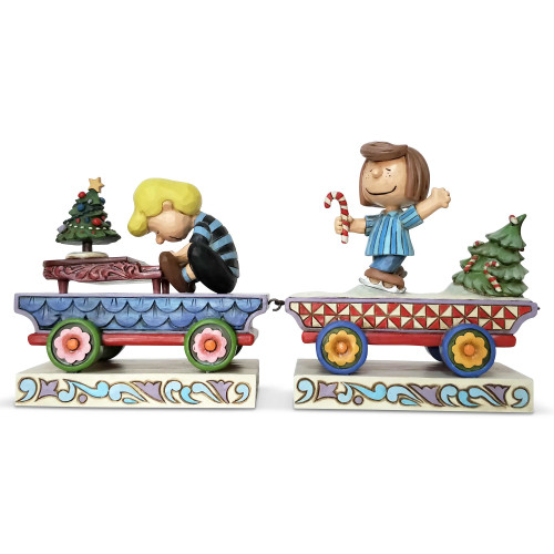 Peanuts by Jim Shore Christmas Train Schroeder and Peppermint Patty
