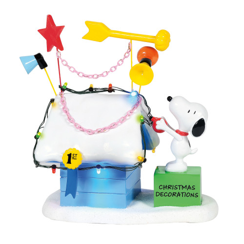 "Peanuts Village Snoopy Ribbon Winning Doghouse 7"" Tall"
