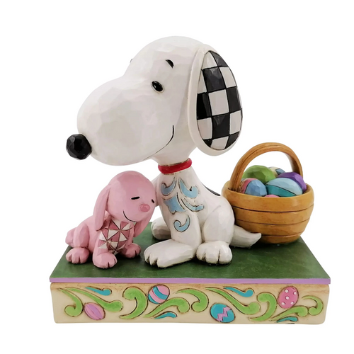 "Snoopy with Bunny and Easter Basket 4.75"" Tall"