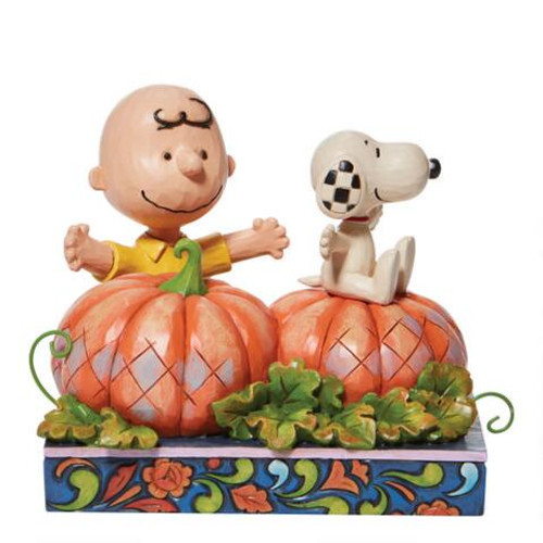 """Snoopy and Charlie Brown Pumpkin Treats 4.5"""" Tall"""
