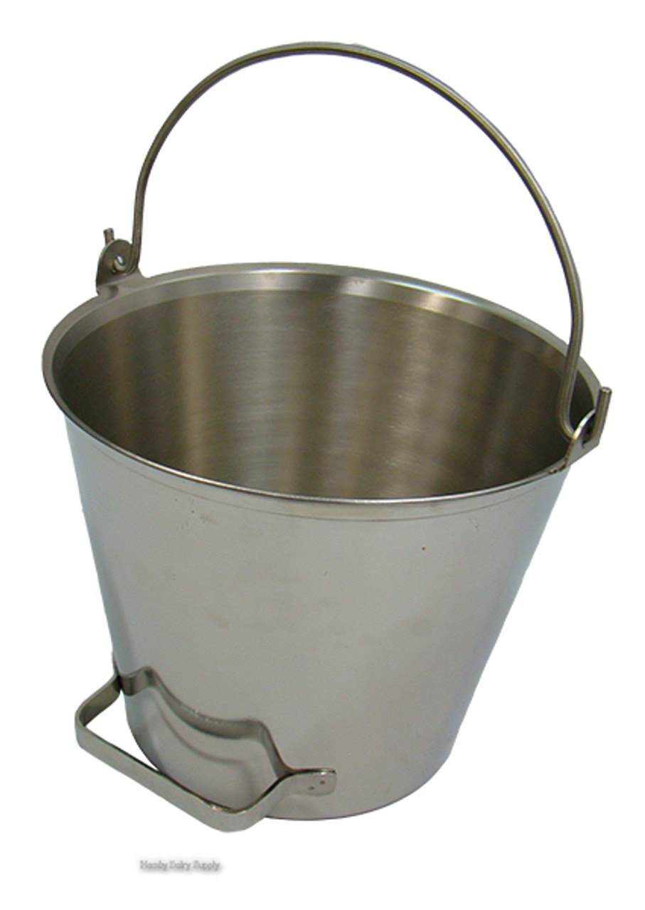 Stainless Steel Bucket Pail Lid Cover for Farm Water Milk Feeding 3 Open