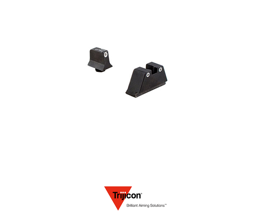 NIGHT SIGHT SUPPRESSOR SET FOR GLOCK 20/21 PISTOLS WHITE FRONT / WHITE REAR WITH GREEN LAMPS