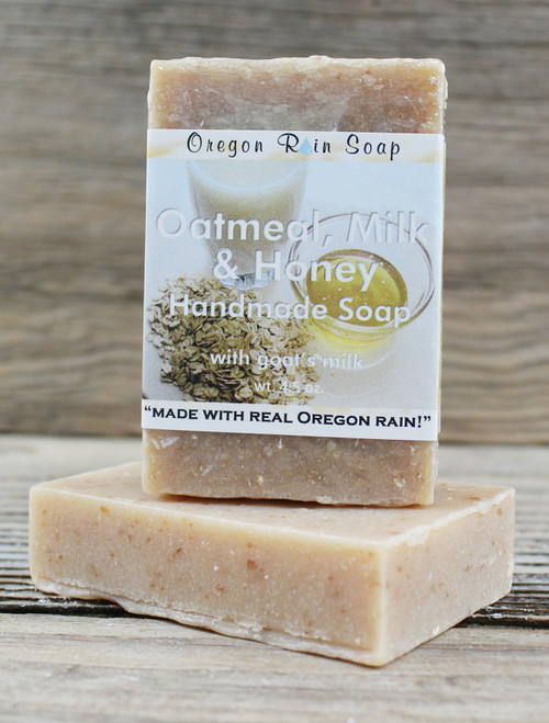 Oatmeal, Milk & Honey - mild cleansing soap Made with fresh, local goat's milk Made in Oregon, USA