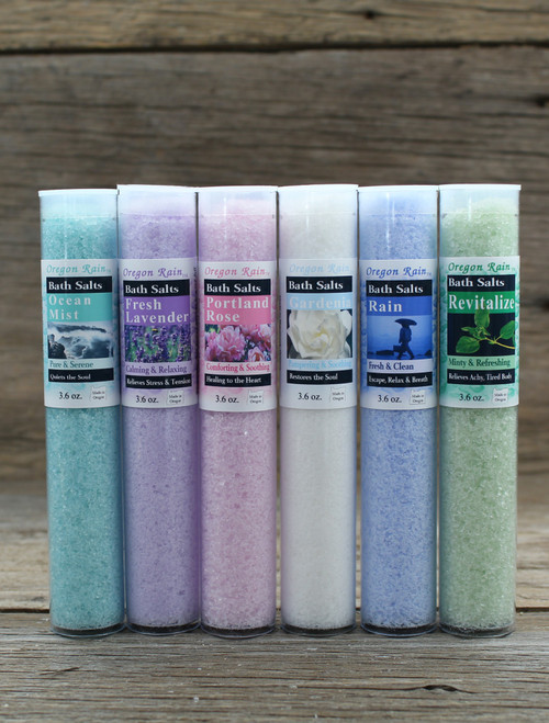 Bath Salt Sampler Ocean Mist: Calming & Serene Lavender: Calming & Relaxing Portland Rose: Healing to the Heart Gardenia: Restores the sole Rain: Escape, Relax & Breath Revitalize:  Relieves achy, tired body