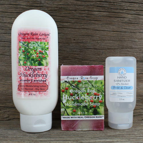 8 oz. Moisturizing Lotion Handmade 4.5 oz. Bar Soap Unscented 2.5 oz. Hand Sanitizer