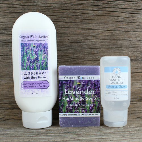 8 oz. Moisturizing Lotion Handmade 4.5 oz. Bar Soap Unscented 2.5 oz. Hand Sanitizer Made with USA