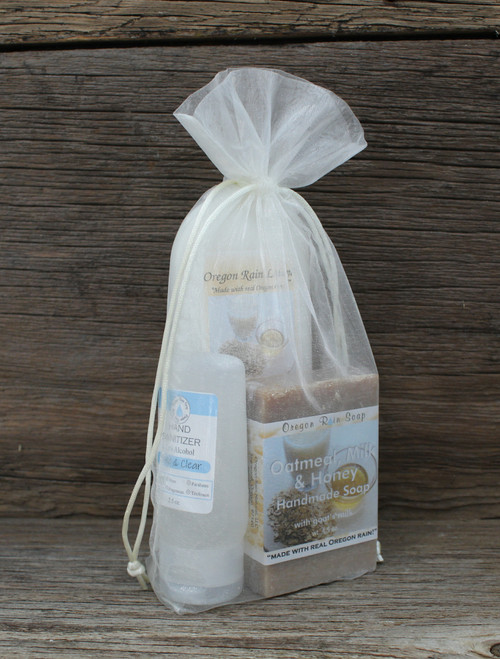 A sweet scented self care kit. Soap made with goat's milk. Wash and moisturize hands. Use hand sanitizer when soap and water is not available.
