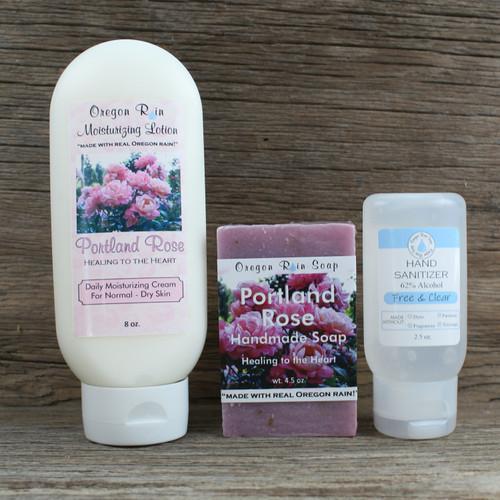 8 oz. Moisturizing Lotion Handmade 4.5 oz. Bar Soap Unscented 2.5 oz. Hand Sanitizer Made in USA