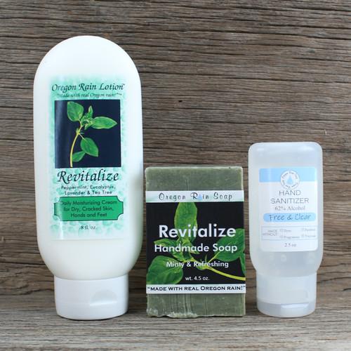 8 oz. Moisturizing Lotion Handmade 4.5 oz. Bar Soap Unscented 2.5 oz. Hand Sanitizer Made with USA