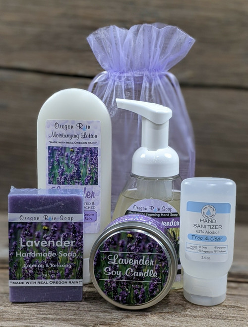 Relaxing & Calming 100% naturally scented Handmade bar soap, lotion, soy candle, foaming hand soap and hand sanitizer. Made in the Pacific Northwest