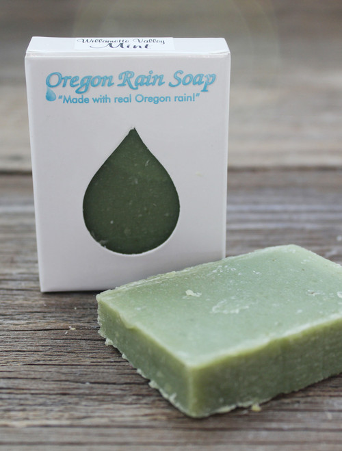 Naturally scented with essential oils Mild cleansing guest sized bar soap Made in Oregon, USA Minty Fresh Scent