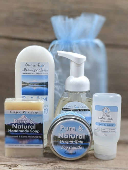 Handmade soap, moisturizing lotion, foaming hand soap, soy candle and hand sanitizer. Unscented