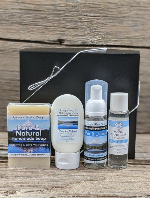 Unscented Pure & Natural sampler set. Soap, lotion, foaming hand soap, hand sanitizer gel Made in USA