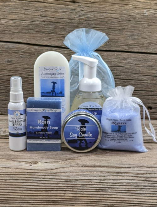 Handmade bar soap, lotion, soy candle, foaming hand soap, bath salt and hand sanitizer spray. Made in the Pacific Northwest in Sherwood, Oregon south of Portland, Oregon
