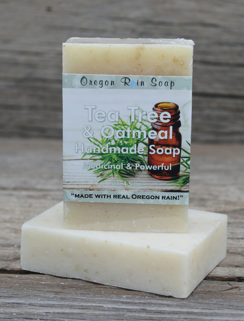 Tea Tree & Oatmeal - mild cleansing bar soap 100% Natural Natural exfoliant Made in Oregon, USA