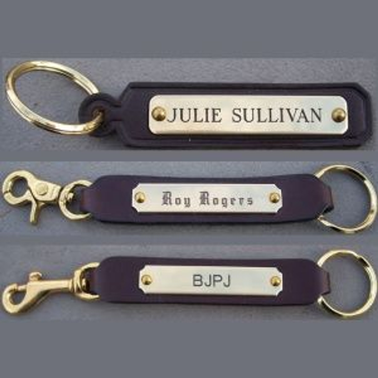 Leather Key Chain Key Fob Custom Engraved Solid Brass Halter Plate Hand made