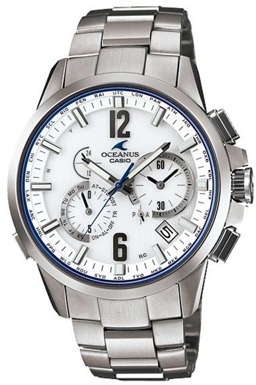 Silver and White oceanus casio watch