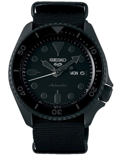 Seiko 5 Sports Black Made In Japan Kanji Wheel SBSA025