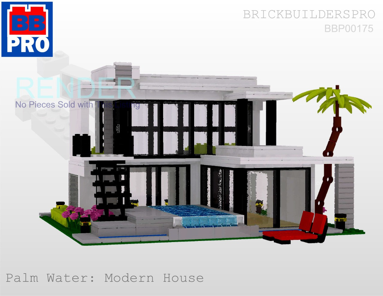 Palm Water Modern House PDF Lego Instructions