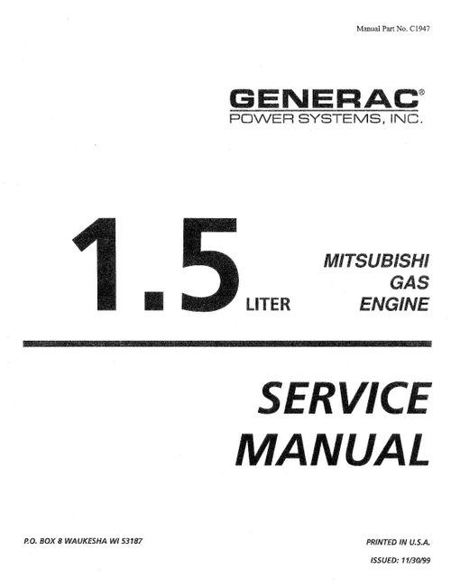 GENERAC 1.5L MITSUBISHE GAS ENGINE SERVICE MANUAL (0C1947)